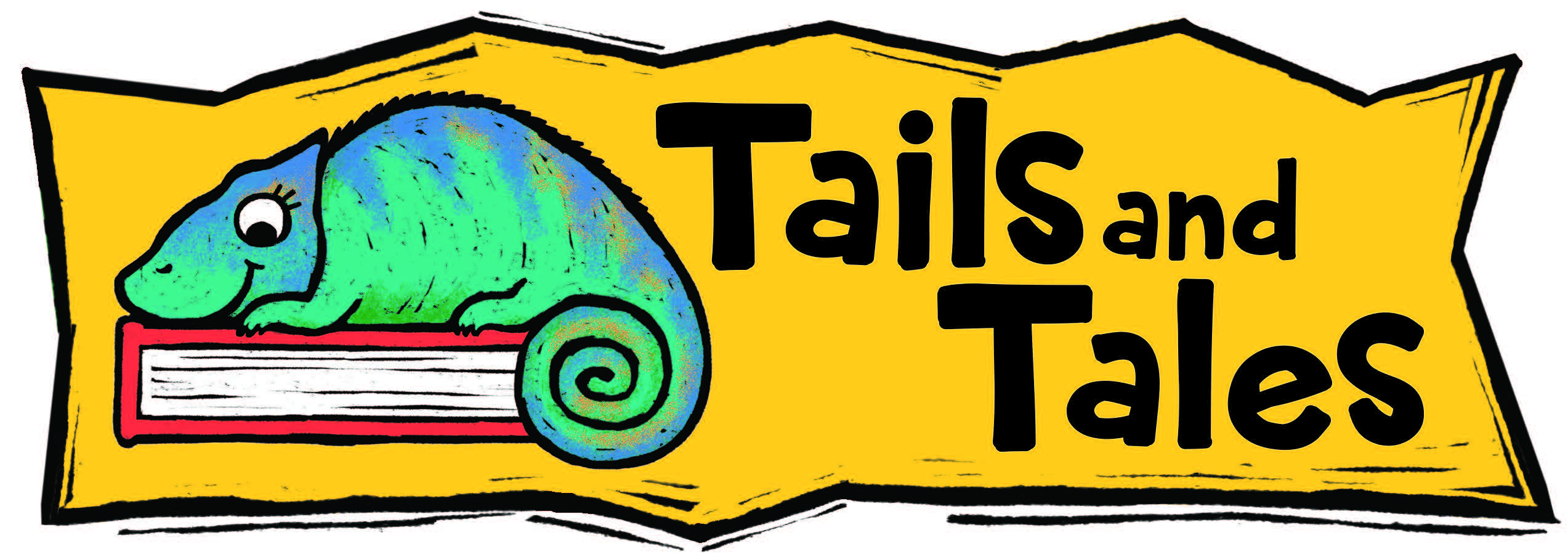 2021 Summer Library Program Tails and Tales banner image of green and blue iguana resting on a red book