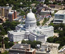 The Wisconsin Capitol photographed from above