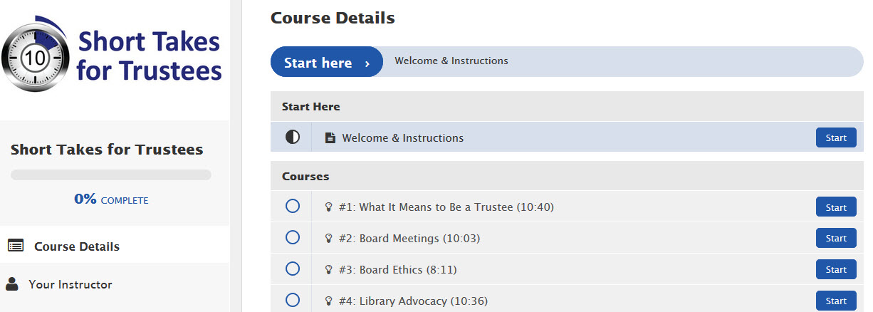Image of List of courses in Short Takes