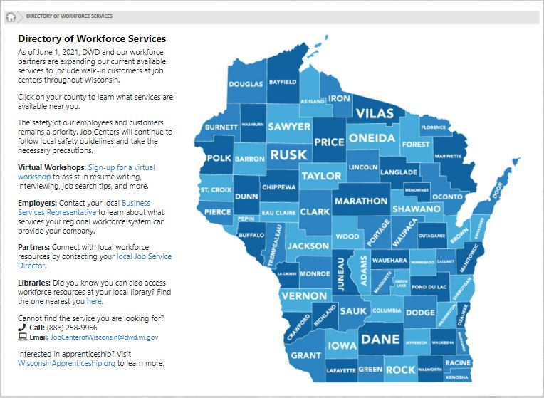 Link to Job Center of Wisconsin's Directory of Workforce Services