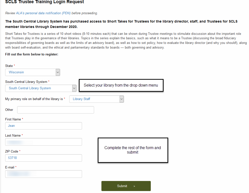 Form to receive login information to Short Takes for Trustees