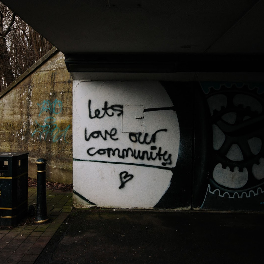 Photo of graffiti with the words Let's love our community