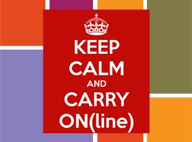 Keep Calm and Carry On(line) graphic