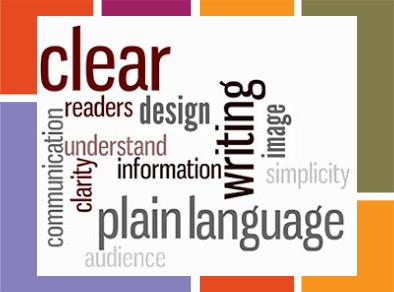 Plain language word cloud graphic